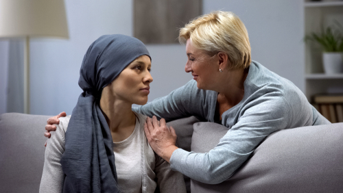 Women with cancer getting support from partner