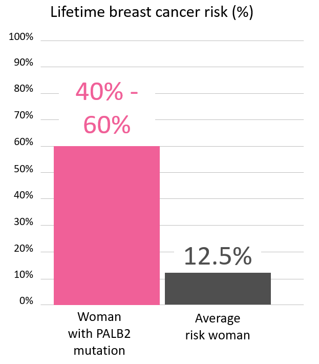 Graph of lifetime breast cancer risk in women with <abbr                 data-toggle='tooltip'                 class='glossary-tip tt-palb2'                 title='<p>PALB2 is a gene found on chromosome 16.&nbsp;Mutations in PALB2&nbsp;increase the risk for&nbsp;female breast and pancreatic cancer,&nbsp;and possibly other cancers.</p> '             >PALB2</abbr> mutations