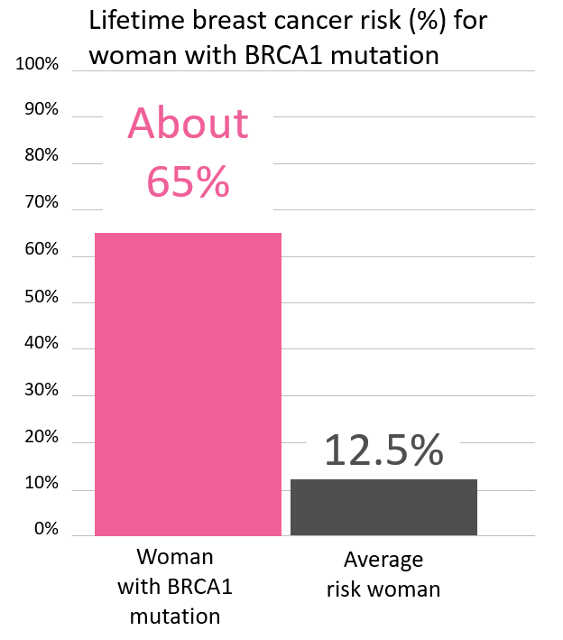 Graph of lifetime risk for breast cancer in women with a <abbr                 data-toggle='tooltip'                 class='glossary-tip tt-brca1'                 title='<p>BRCA1 is a gene found on chromosome 17. Mutations in BRCA1 increase the risk for cancers including breast, ovarian, pancreatic, prostate,&nbsp;melanoma and possibly other cancers. BRCA1&nbsp;mutations are among the genes associated with Hereditary Breast and Ovarian Cancer Syndrome, also known as HBOC.&nbsp;</p> '             >BRCA1</abbr> mutation